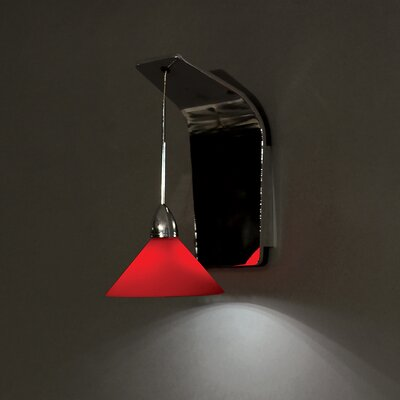 Jill 1-Light LED Armed Sconce Finish: Brushed Nickel, Shade Color: Red