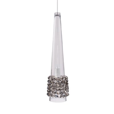Kalysta LED Monopoint 1-Light Mini Pendant Finish: Brushed Nickel, Shade Color: Black Ice