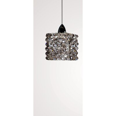 Haven Quick Connect 1-Light Pendant Shade Color: Black Ice, Finish: Dark Bronze, Size: 3 H x 3 W x 8 D