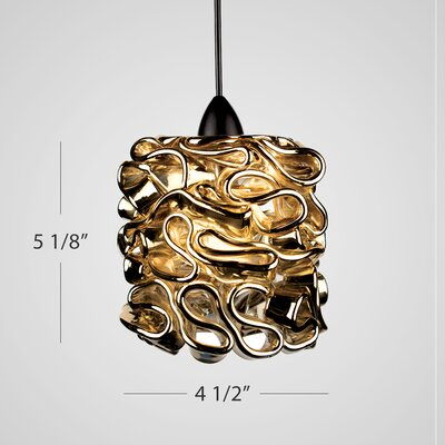Candy Quick Connect Pendant Finish: Dark Bronze, Shade Color: Gold