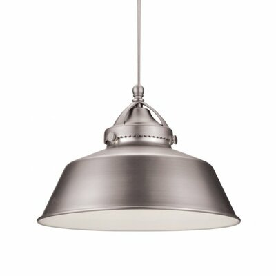 Wyandotte 1-Light Inverted Pendant Finish: Brushed Nickel, Shade Color: Antique Bronze