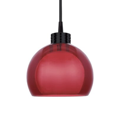 Contemporary Nova Round 1-Light Mini Pendant Finish: Black, Shade Color: Red