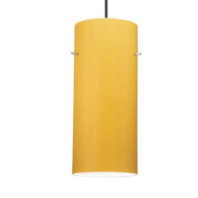Contemporary Cylindrical 1-Light Mini Pendant Finish: White, Shade Color: Amber