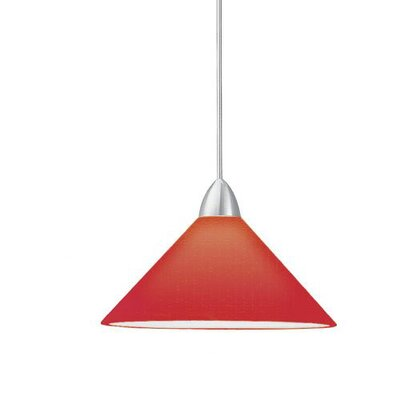 Contemporary Jill 1-Light Mini Pendant Canopy Type: Monopoint Canopy, Shade Finish: Red, Finish: Brushed Nickel