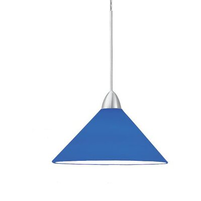 Contemporary Jill 1-Light Mini Pendant Canopy Type: Monopoint Canopy, Shade Finish: Blue, Finish: Dark Bronze
