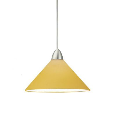 Contemporary Jill 1-Light Mini Pendant Canopy Type: Monopoint Canopy, Shade Finish: Amber, Finish: Brushed Nickel