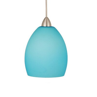 Contemporary Sarah 1-Light Mini Pendant Canopy Type: Monopoint Canopy, Shade Finish: Light Blue, Finish: Brushed Nickel