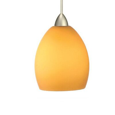 Contemporary Sarah 1-Light Mini Pendant Canopy Type: Monopoint Canopy, Shade Finish: Red, Finish: Brushed Nickel