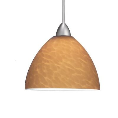 Yohji Quick Connect Pendant Canopy Type: LED Monopoint Canopy, Shade Finish: Amber, Finish: Brushed Nickel