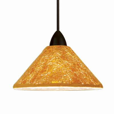 Artisan Micha 1-Light Mini Pendant Canopy Type: Monopoint Canopy, Shade Finish: Multicolored, Finish: Dark Bronze