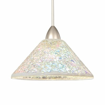 Artisan Micha 1-Light Mini Pendant Canopy Type: Monopoint Canopy, Shade Finish: Dichoric, Finish: Brushed Nickel