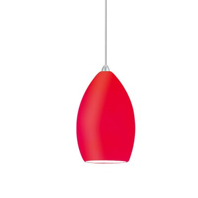 Contemporary Lauren 1-Light Mini Pendant Shade Finish: Red, Finish: Brushed Nickel