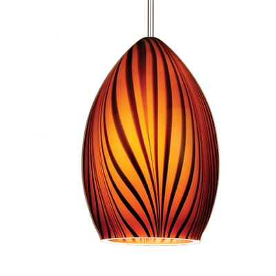 Artisan Aurora Monopoint 1-Light Mini Pendant Shade Finish: Green /Orange, Finish: Chrome