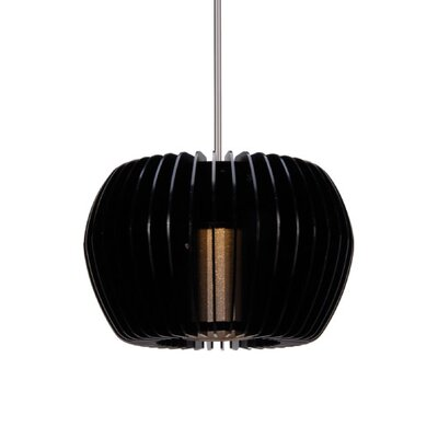 1-Light LEDme Quick Connect Track Pendant Finish: Brushed Nickel, Glass Color: Black