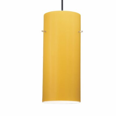1-Light Dax Track Pendant Track Type: Lightolier Series, Shade Color: Amber, Finish: Brushed Nickel