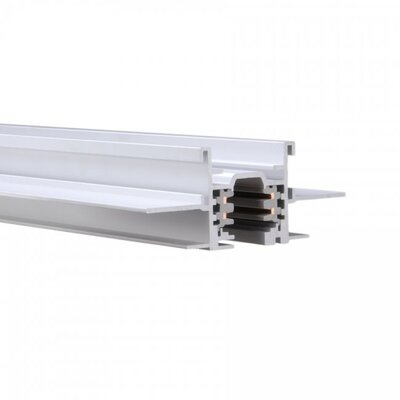 277V Recessed Flangeless W Track Head Size: 3.94 H x 144 W x 1.63 D, Finish: White