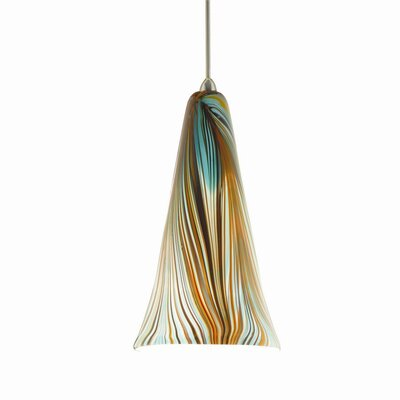 Shotwell Quick Connect 1-Light Pendant Finish: Brushed Nickel with Peacock Glass