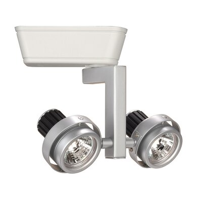 2-Light Double Adjustable Low Voltage Track Head Track Type: Halo Series, Finish: Platinum/White