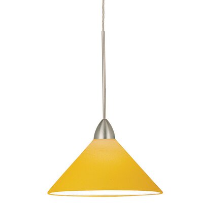Jill 1-Light Line Voltage Track Pendant Shade Color: Amber, Finish: Brushed Nickel, Track Type: Halo Series