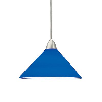 Jill 1-Light Line Voltage Track Pendant Shade Color: Blue, Finish: Brushed Nickel, Track Type: Halo Series
