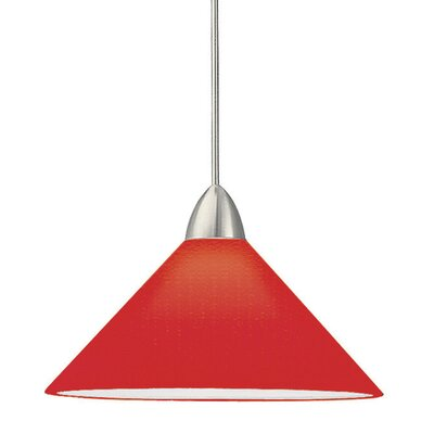 Jill 1-Light Line Voltage Track Pendant Shade Color: Red, Finish: Brushed Nickel, Track Type: Halo Series