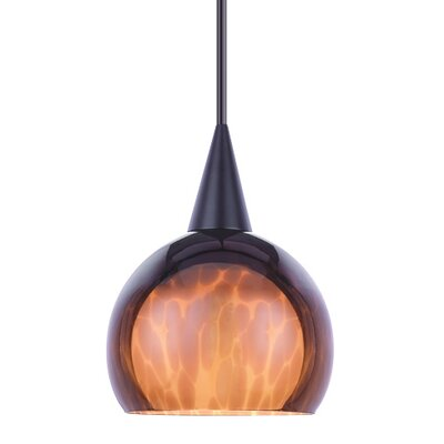 1-Light Nova Line Voltage Mini Track Pendant Shade Color: Amber, Finish: Black, Track Type: Halo Series HTK-F4-403AM/BK