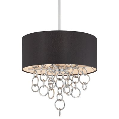 Ringlets 4-Light Drum Pendant Shade Color: Black Linen Fabric