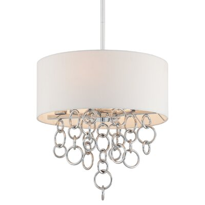 Ringlets 4-Light Drum Pendant Shade Color: White Linen Fabric