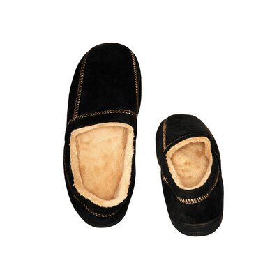 Suede Fleece Mens Slipper Size: 7- 8, Color: Black
