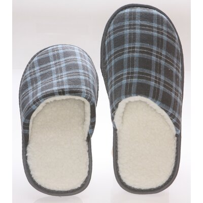 Checkered Cotton Wool Fleece Lining Mens House Slippers Size: 9- 10