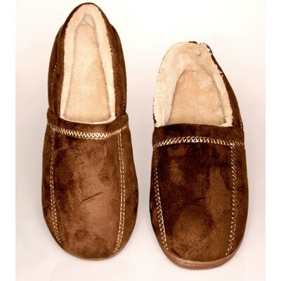 Suede Fleece Mens Slipper Size: 9- 10, Color: Brown