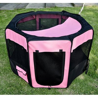 Deluxe Soft Sided Folding Pet Pen Size: Large (46 L x 46 W x 29.75 H), Color: Pink