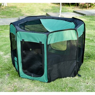Deluxe Soft Sided Folding Pet Pen Size: Large (46 L x 46 W x 29.75 H), Color: Green