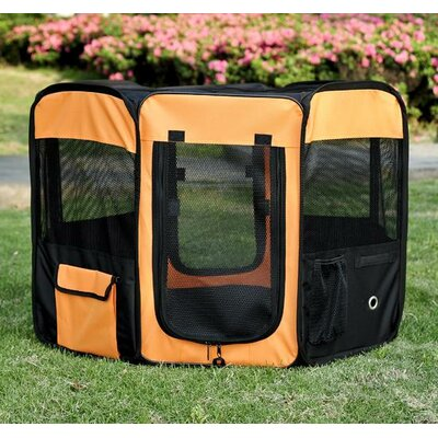 Deluxe Soft Sided Folding Pet Pen Size: Small (36 L x 36 W x 23 H), Color: Orange