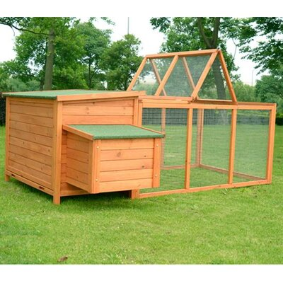 Pawhut Wood Chicken Coop Rabbit Hen House Nest Huge Run Backyard Poultry Cage
