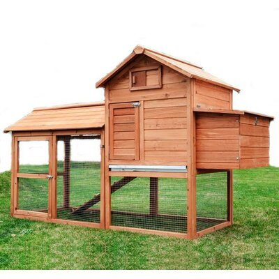 Pawhut Chicken Coop with Hinged Roof and Nesting Box
