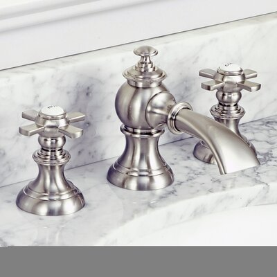 Modern Classic Widespread Double Handle Bathroom Faucet with Drain Assembly Finish: Brushed Nickel, Optional Accessories: Cross Handle