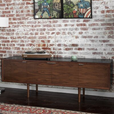 May Credenza Case / Body & Legs Finish: Blackened Steel / Walnut