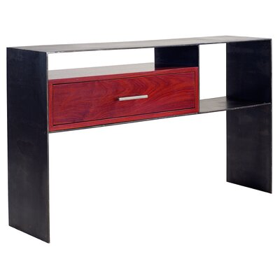 ET Console Table Finish: Case: Blackened Steel / Drawer: Padauck