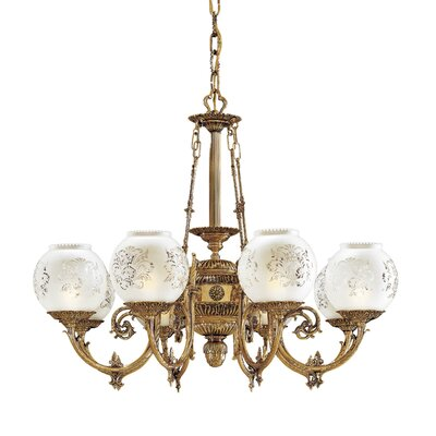 Vintage 8-Light Shaded Chandelier