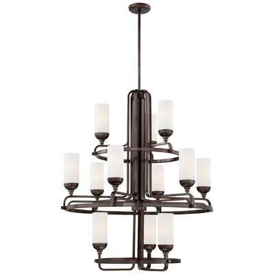 Industrial 12-Light Shaded Chandelier