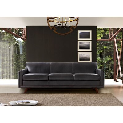 Ari Mid-Century Leather Sofa Upholstery: Charcoal