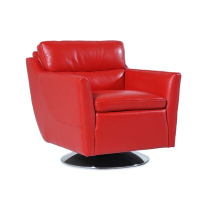 Clio Full Top Grain Arm Chair Upholstery : Red