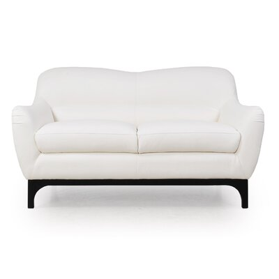 Kasia Mid-Century Leather Loveseat Upholstery: Dorado