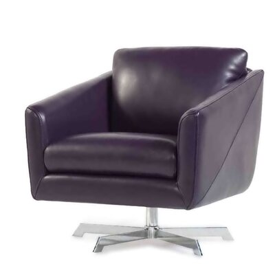 Hieu Top Grain Contemporary Swivel Leather Armchair