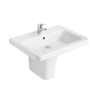 Universal Vitreous China 22 Semi Pedestal Bathroom Sink with Overflow