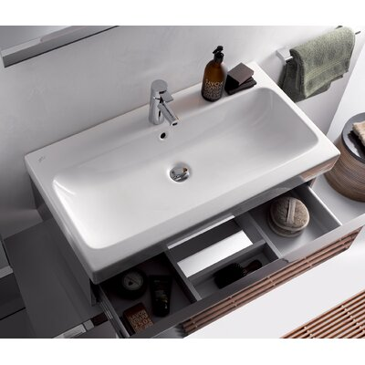 Elements iCon 90 35 Wall Mounted Bathroom Sink with Overflow