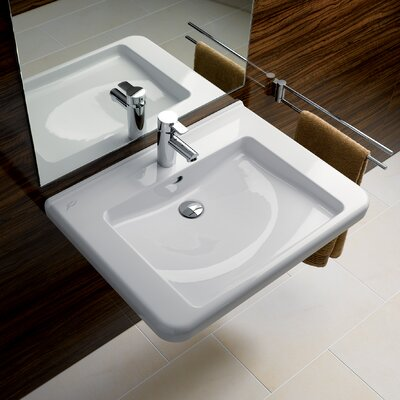 Renova Ceramic 22 Wall Mount Bathroom Sink with Overflow