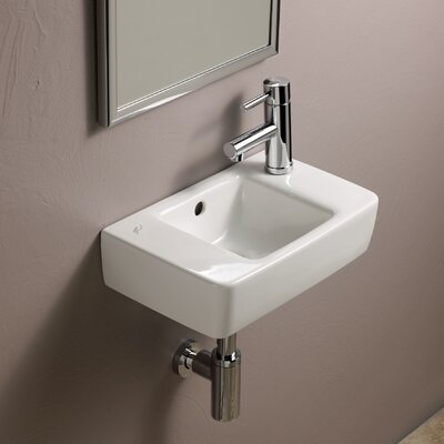 Elements Ceramic 16 Wall Mount Bathroom Sink with Overflow