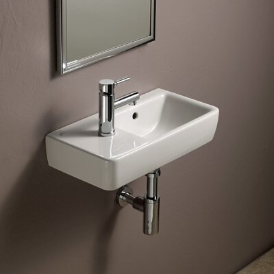 Comprimo Ceramic 20 Wall Mount Bathroom Sink with Overflow
